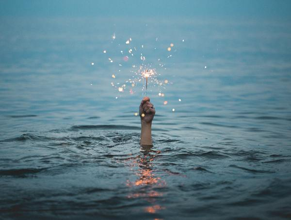 sparkler in the water